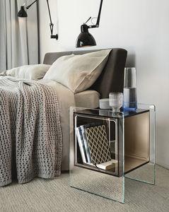 コンテンポラリーベッドサイドテーブル / ガラス製 / 長方形 / 収納付き