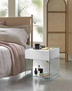 コンテンポラリーベッドサイドテーブル / 漆木材 / 湾曲ガラス製 / ガラス製
