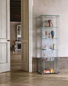 コンテンポラリー展示ケース / ガラス製 / アルミ製 / 照光式
