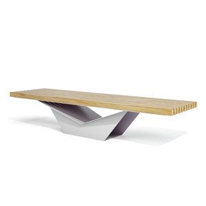 公共ベンチ / コンテンポラリー / 木製 / 亜鉛めっき鋼製