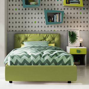 シングルベッド / コンテンポラリー / 布張り / 布張りヘッドボード付き