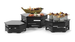 テーブル展示用ラック / 食品用 / ステンレススチール製 / 硬化ガラス製