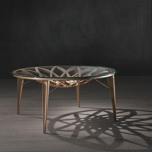 コンテンポラリーテーブル / ガラス製 / 丸形