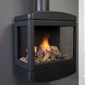 ガス密閉式暖炉 / 3 面タイプ / 鋳鉄