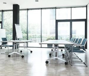 コンテンポラリー教室用テーブル / アルミ製 / 長方形 / キャスター付