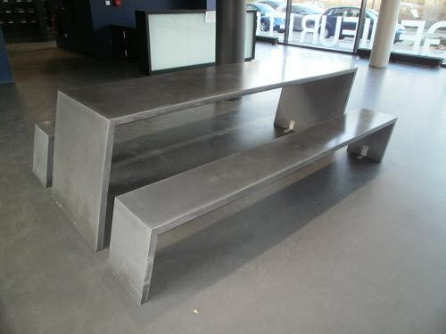 コンテンポラリーテーブルベンチセット / コンクリートbfuhp Ductal© / 公共スペース用