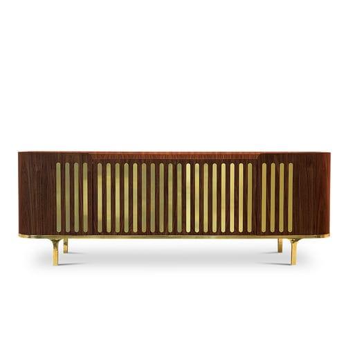 コンテンポラリーサイドボード / オーク材 / クルミ材 / ポリッシュ真鍮製