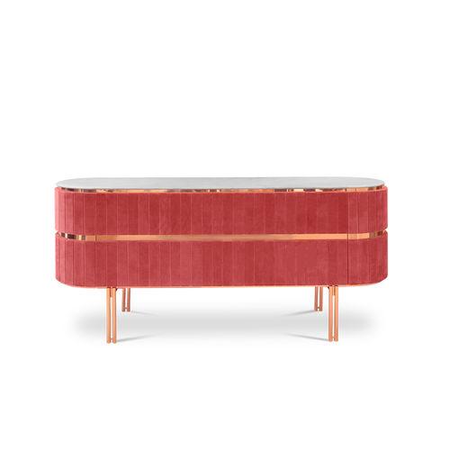 長脚サイドボード / コンテンポラリー / 真ちゅう製 / ポリッシュ真鍮製