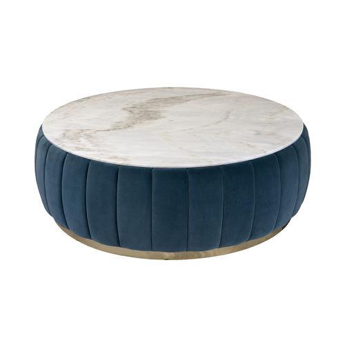 コンテンポラリーコーヒーテーブル / ポリッシュ真鍮製 / 大理石製 / 布製