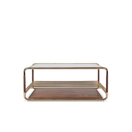 コンテンポラリーコーヒーテーブル / クルミ材 / スモークガラス製 / ポリッシュ真鍮製