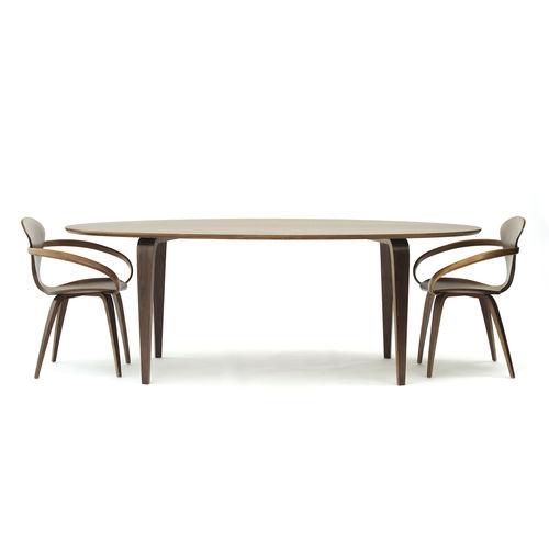 コンテンポラリー食卓テーブル / クルミ材 / 楕円形 / 業務用