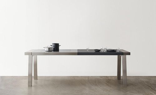 ステンレススチール製調理準備テーブル / 流し付き
