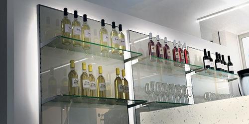 壁取り付け式棚 / コンテンポラリー / 金属板状 / ガラス製