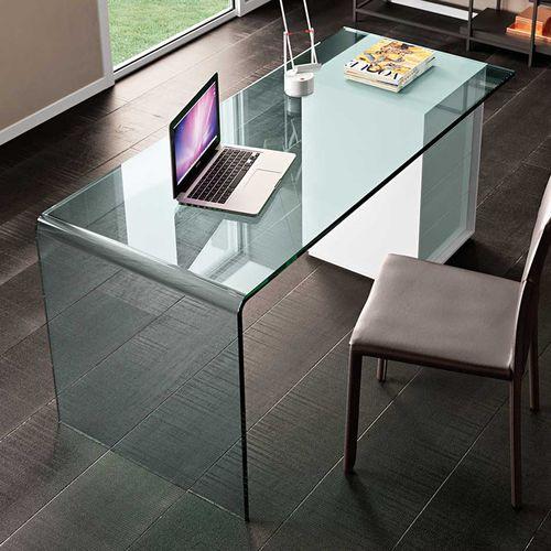 木製デスク / ガラス製 / レザー / コンテンポラリー