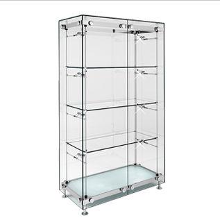 コンテンポラリー展示ケース / ガラス製 / 照光式 / 業務用