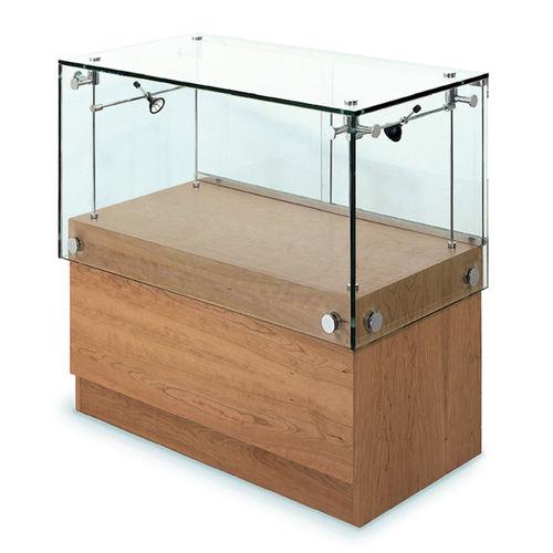 コンテンポラリー展示ケース / ガラス製 / オーク材 / 照光式