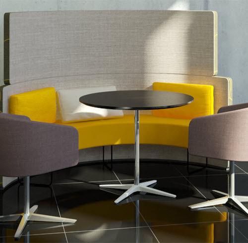 コンテンポラリービストロ用テーブル / アルミ製 / 木製 / 円形