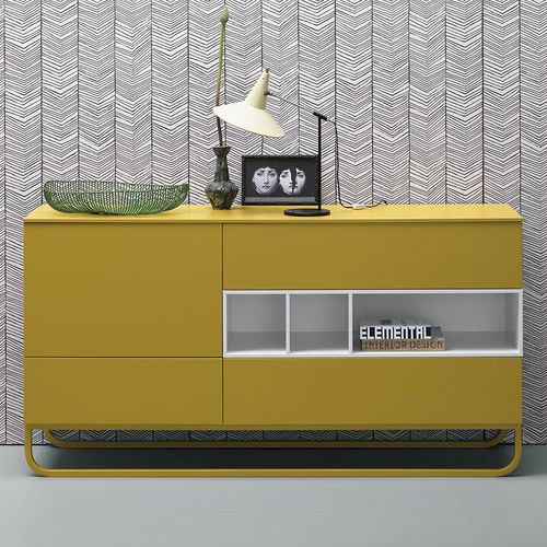 コンテンポラリーサイドボード / 漆木材 / 黄色