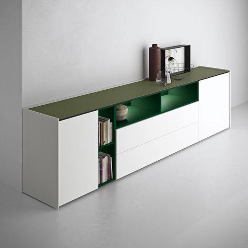 コンテンポラリーサイドボード / 漆木材 / ラック付 / 白