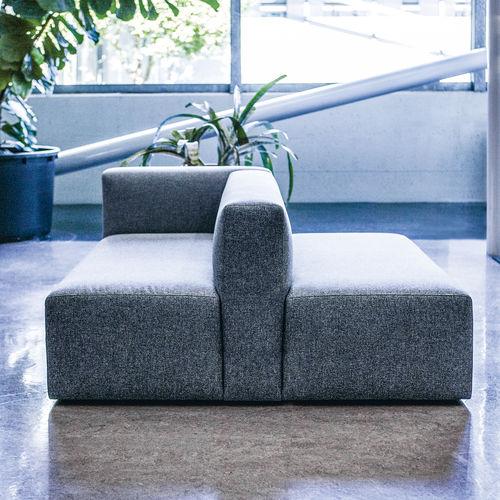 モジュール式ソファー / コンテンポラリー / 布製 / レザー