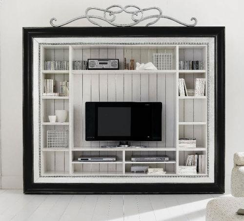 伝統的テレビキャビネット / 木製 / ニス塗装済木製