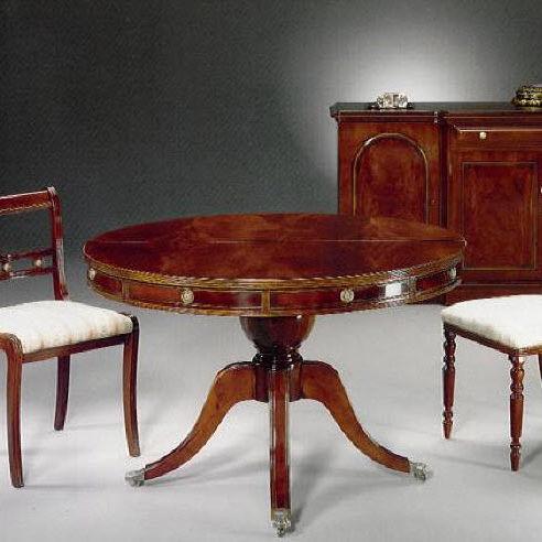 クラシック食卓テーブル / マホガニー製 / 円形 / エクステンション