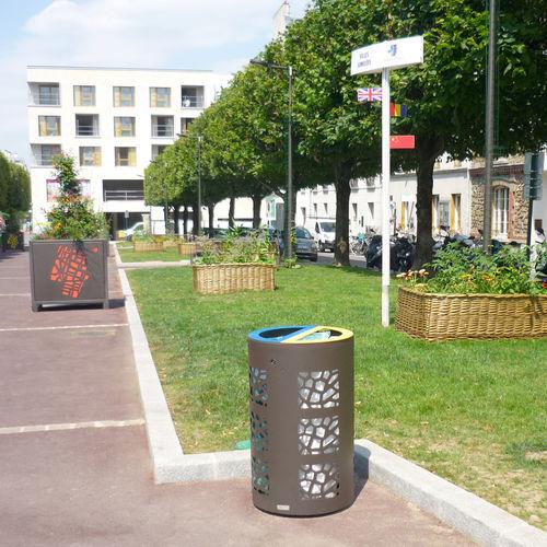 公共ゴミ箱 / 亜鉛めっき鋼製 / コールテン鋼製 / コンテンポラリー