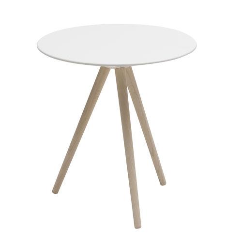 コンテンポラリーサイドテーブル / トネリコ材 / 漆塗りを施したMDF / 円形