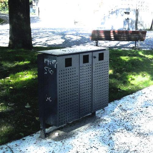 公共ゴミ箱 / 鉄製 / 鋼板 / 灰皿付