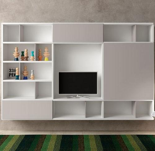 コンテンポラリーテレビ壁ユニット / 漆木材 / すりガラス製