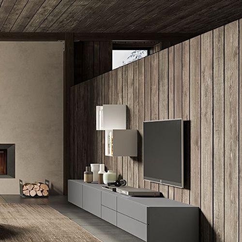 コンテンポラリーリビング壁ユニット / 漆木材