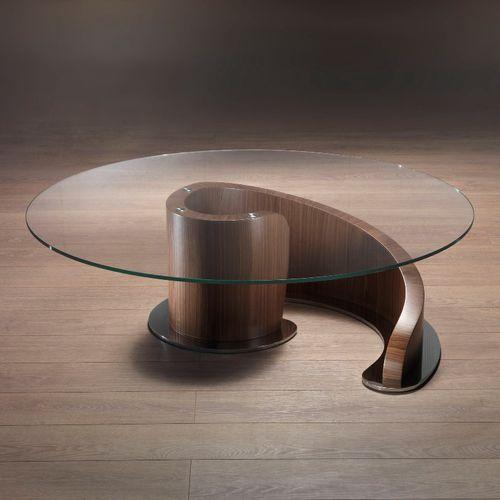 コンテンポラリーコーヒーテーブル / ガラス製 / 金属製 / クルミ材