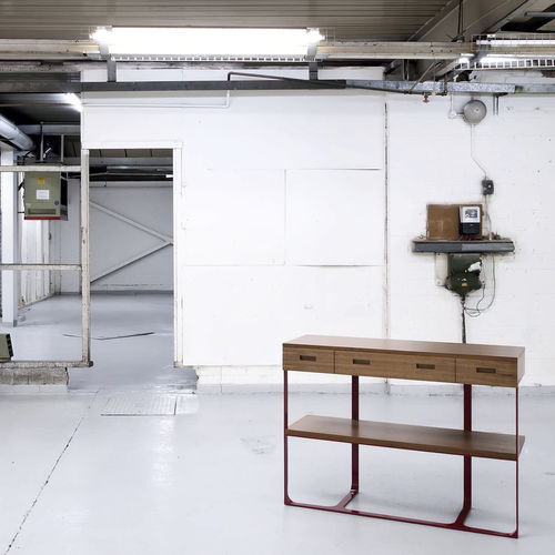 コンテンポラリーサイドボードテーブル / アメリカンウォールナット製 / 長方形 / 引き出し付き