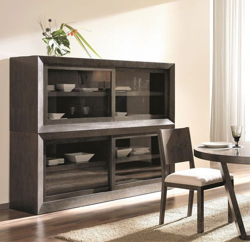 コンテンポラリー食器棚 / クルミ材 / ガラス製