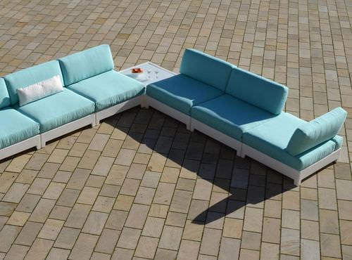 モジュール式ソファー / コンテンポラリー / 屋外用 / 合成繊維