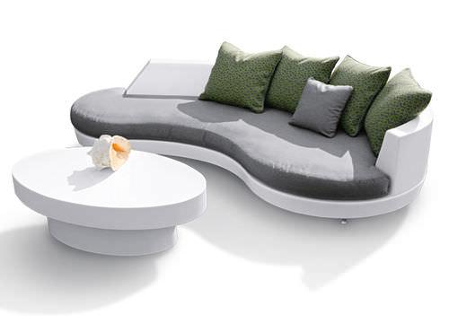 コンテンポラリー補助テーブル / ファイバーガラス製 / 楕円形 / 屋外用