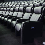 布製映画館用アームチェア / ヘッドレスト付き / リクライニング式 / 赤