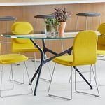 コンテンポラリー会議用テーブル / 木製 / ガラス製 / アルミニウム製