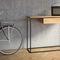 ミニマリストデザインサイドボードテーブル / オーク材 / 被覆鋼粉 / 長方形