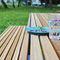 コンテンポラリーテーブルベンチセット / ソリッド ウッド製 / スチール製 / 公共スペース用