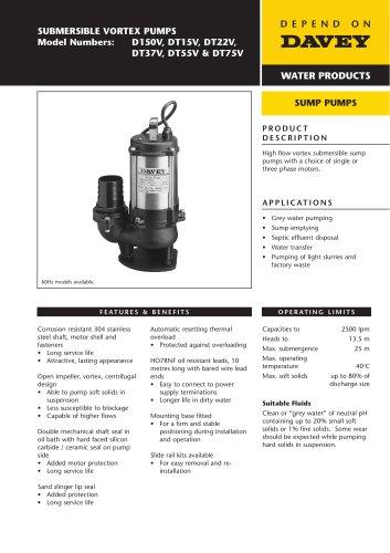 Large Vortex Sump Pump