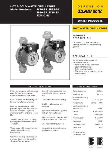 SC, SB, SS, SX Hot & Cold Water Circulators
