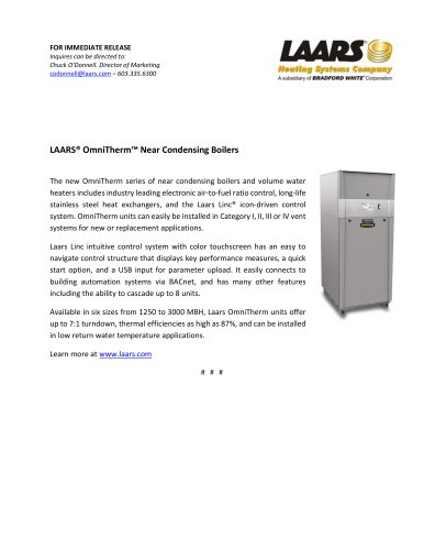 LAARS® OmniTherm™ Near Condensing Boilers