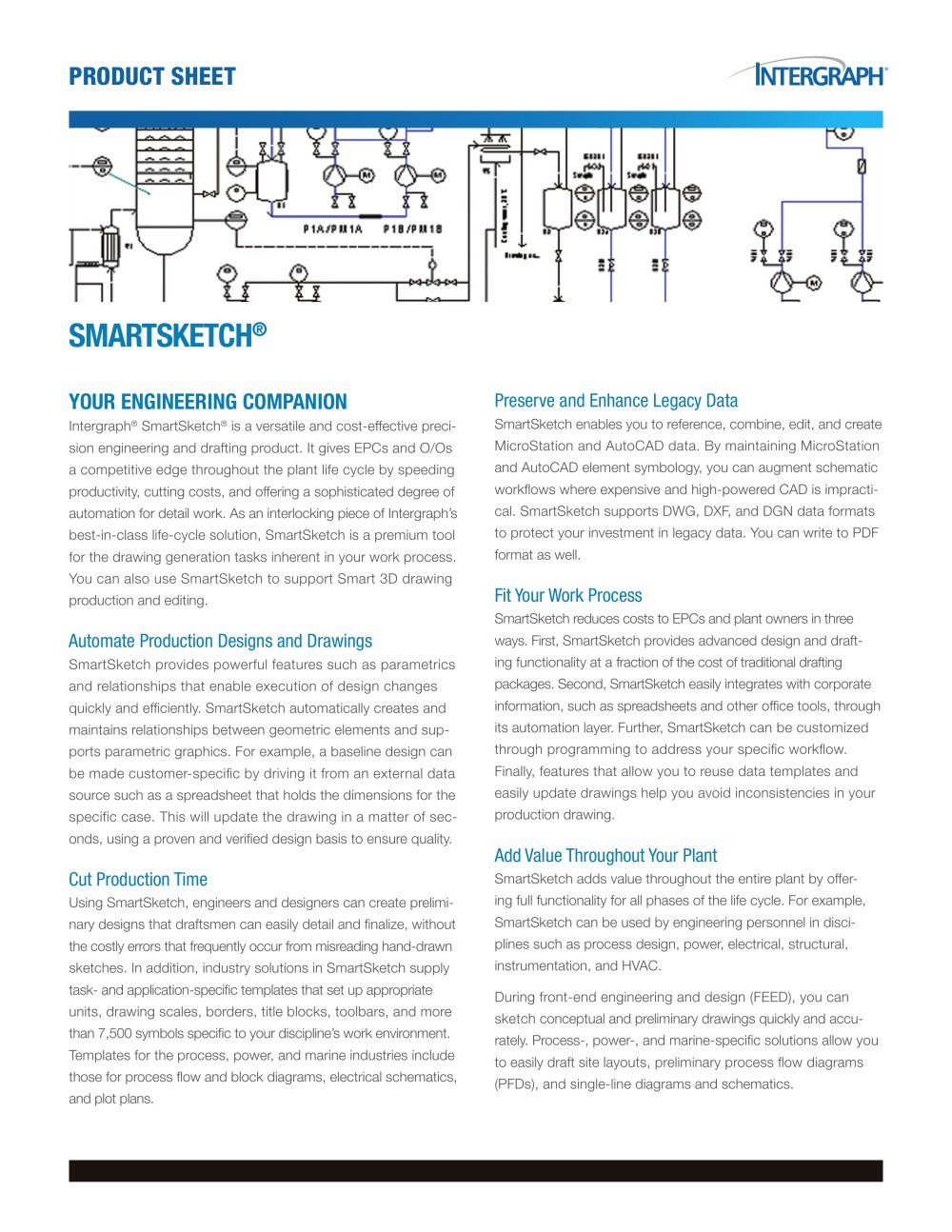 Smartsketch Product Sheet Intergraph Pdf Catalogues Hvac Drawing Autocad 1 2 Pages