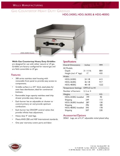 Countertop Griddles:HDG2430G