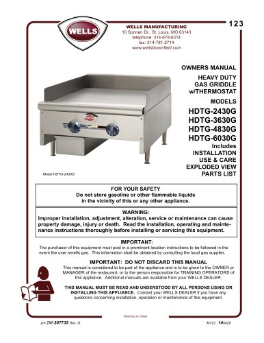 HEAVY DUTY GAS GRIDDLE w/THERMOSTAT