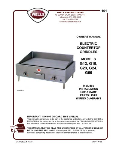 Wells Electric Countertop Griddle