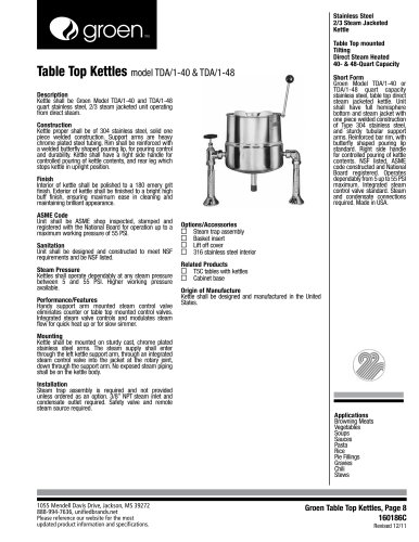 Table-Top Kettle - Model TDA 1-40