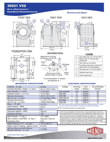 36021V5Z - Milnor - PDF Catalogs | Doentation | Brochures on