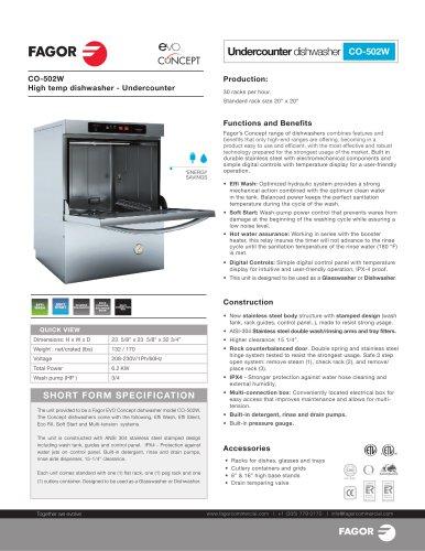 Fagor Dishwashing CO-502W Evo Concept Undercounter Dishwasher